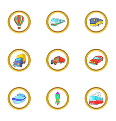 New vehicle icons set cartoon style vector