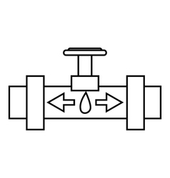 Pipe with valves icon outline style vector image