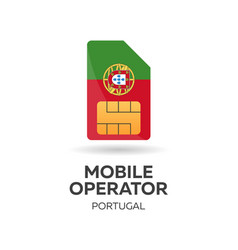 Portugal mobile operator sim card with flag vector