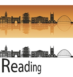 Reading skyline in orange background vector image
