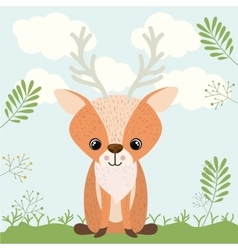 Reindeer cute woodland icon vector