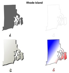 Rhode Island blank outline map set vector image vector image