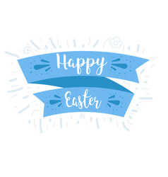 Ribbon and blue lettering happy easter vector