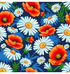 seamless bright with poppies and daisies for fabri vector image