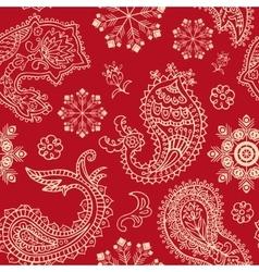 Seamless Christmas and Paisley pattern vector image