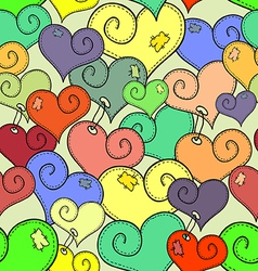 seamless pattern of stitched hearts vector image vector image
