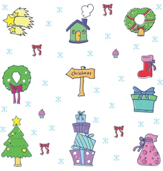 Set doodle christmas color vector