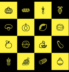 Set of 16 editable food outline icons includes vector