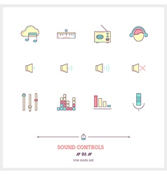 Sound Controls Line Icons Set vector image