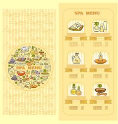 Spa salon menu card set of cute various spa icon vector