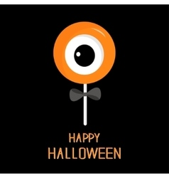 Sweet candy lollipop with eyeball black bow vector