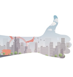 thumb up icon double exposure vector image