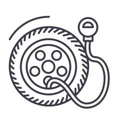 tire service pumptire pressure line icon vector image