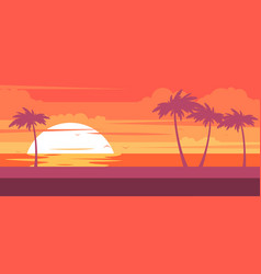 tropical beach with palm trees and sea - resort vector image vector image