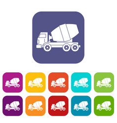 Truck concrete mixer icons set flat vector
