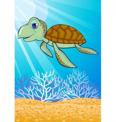 turtle swimming vector image vector image