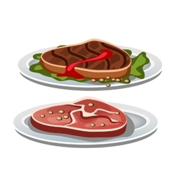 Two grilled steak on a white background food vector image