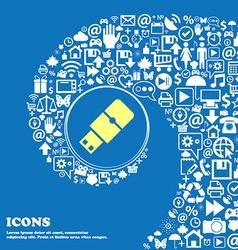 USB flash sign icon Nice set of beautiful icons vector image