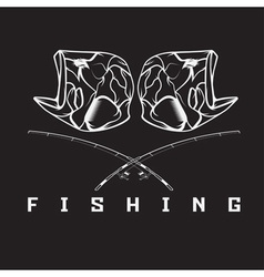 Vintage fishing emblem with skull of bass vector