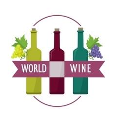 World wine set of check elite vintage wines vector