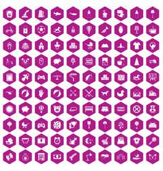 100 nursery icons hexagon violet vector