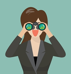 Business woman use binoculars looking for business vector