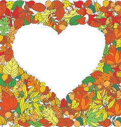 Autumn leaves heart-shaped background vector image