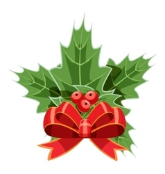 Christmas bow with holly berry icon cartoon style vector
