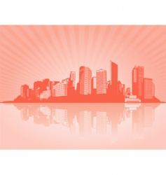 city with reflection vector image