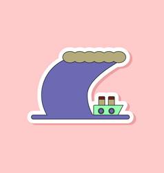 paper sticker on stylish background ship storm vector image