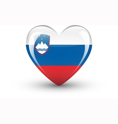 Heart-shaped icon with national flag of slovenia vector