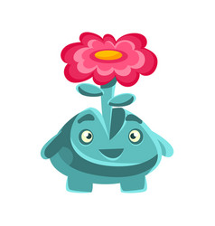 Cute friendly plant with a flower on his head vector