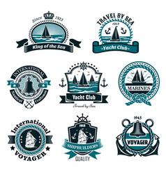 Nautical icons and marine symbols set vector