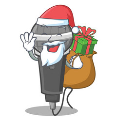 Santa with gift microphone cartoon character vector