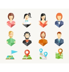 People avatar pins vector