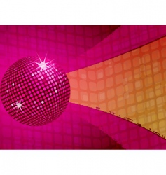 Pink disco ball funky background vector