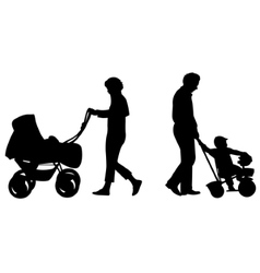 Parents with baby in carriage silhouette vector