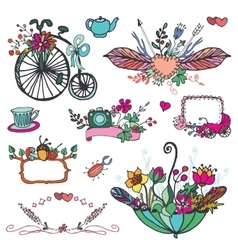 Doodle floral grouphand sketched vintage element vector