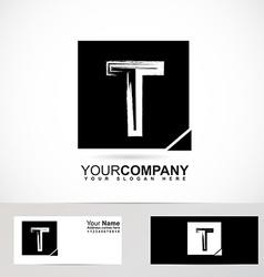 Grunge alphabet logo letter t vector