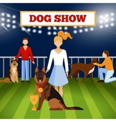 People wigh dogs poster vector
