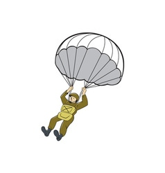 American paratrooper parachute cartoon vector