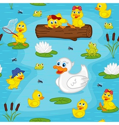 Seamless pattern with ducks on lake vector