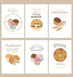 Set of 6 food banners vector