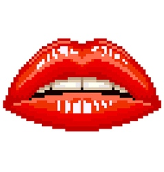 Pixel red woman lips isolated vector