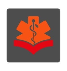 Medical knowledge rounded square button vector