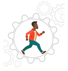 Man running inside the gear vector