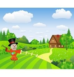 Farm landscape with cartoon scarecrow vector image