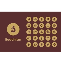 Set of buddhism simple icons vector