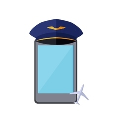 Telephone in the pilot cap isolated vector
