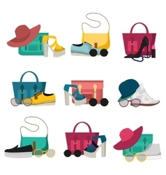 Fashion accessories icon set vector